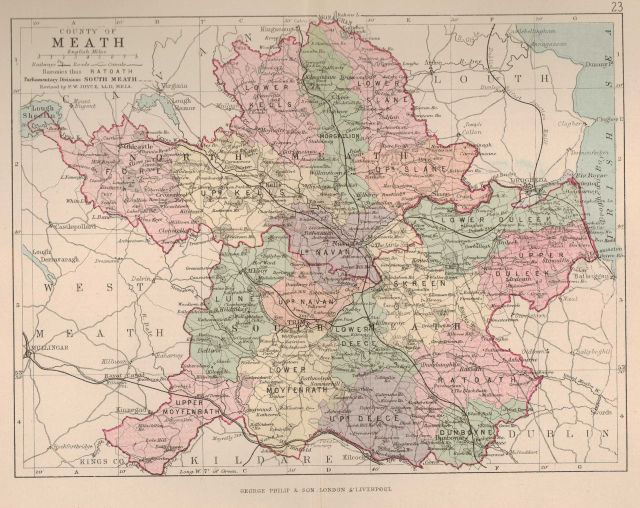 Map Of Co Meath Ireland.Navan Historical Society The Baronies Of Meath