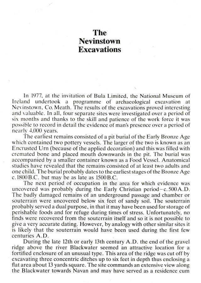 Navan Historical Society - Nevinstown Excavations
