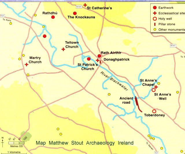 Ancient Map Of Ireland.Navan Historical Society Teltown