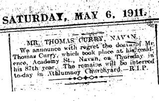 thomas curry death notice